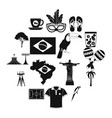brazil icons black vector image vector image