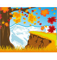 bright landscape autumn and snow mountains vector image vector image