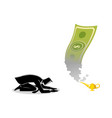 businessman worshiping money that appearing from vector image vector image