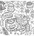 cartoon bigfoot or yeti sleeping in forest vector image vector image