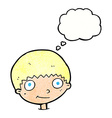 cartoon happy boy with thought bubble vector image vector image