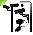 CCTV camera silhouettes vector image vector image