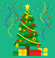 christmas tree with decorations and gifts vector image vector image