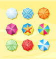 colored beach umbrellas top view set protected vector image