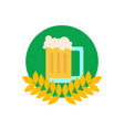 common glass of beer in wheat emblem vector image vector image