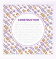construction concept with thin line icons builder vector image