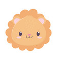 cute lion face animal cartoon isolated icon vector image vector image