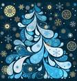 fantastic xmas tree with paisley snowflakes and vector image vector image