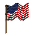 flag united states of america in flagpole waving vector image vector image