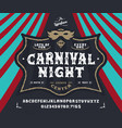 font carnival night pop vintage letters numbers vector image vector image