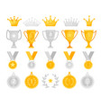 gold and silver awards set vector image vector image