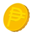 Gold coin with Peso sign icon cartoon style vector image