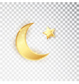 gold shiny glowing half moon with star isolated vector image vector image