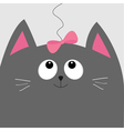 Gray cat head looking at pink bow hanging on vector image vector image
