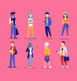 group people standing togethe students vector image vector image