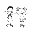 hand drawn boy and girl vector image