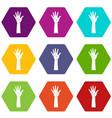 hand icon set color hexahedron vector image vector image