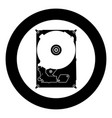 hard drive disk icon black color in circle vector image vector image