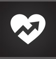 heart with arrow icon on black background for vector image