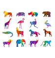 low poly animals silhouettes from geometric vector image vector image