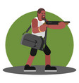 man with shotgun and a bag cash vector image vector image