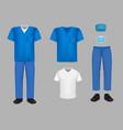 medical uniform scrub set isolated vector image