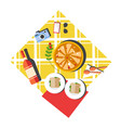 picnic layout top view with pizza and red wine vector image