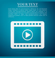play video flat icon on blue background vector image vector image