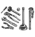 plumber tools vintage composition vector image