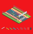 racing finish line and parts isometric view vector image