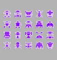 robot ultraviolet patch sticker icons set vector image