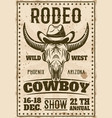 rodeo show vintage poster with buffalo skull vector image