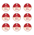 Sale circle label app icons 10 to 90 percent vector image