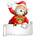 santa waving and holding blank sign vector image vector image