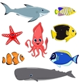 Set of marine animals vector image vector image