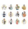 set round icon women different professions vector image