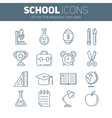 set school thin lined flat icons vector image