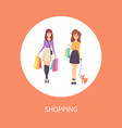 shopping female with bag and dog pet poster vector image vector image
