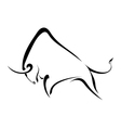 Silhouette strong wild bull vector image vector image