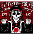 skull motorcycle poster vintage man t shirt vector image vector image