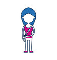 teenager girl school people cartoon in blue and vector image vector image