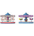 two designs merry go round on white background vector image