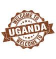 uganda round ribbon seal vector image vector image
