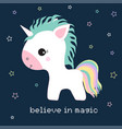 unicorn and stars vector image