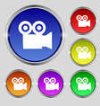 video camera icon sign Round symbol on bright vector image vector image