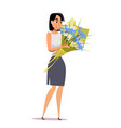 young woman with flowers flat vector image vector image