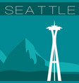 skyline of seattle flat style panorama vector image