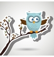 owl blue tree leaves blue vector image