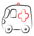 ambulance car drawing on white background vector image