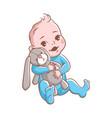 baby boy cute infant hugging rabbit toy vector image